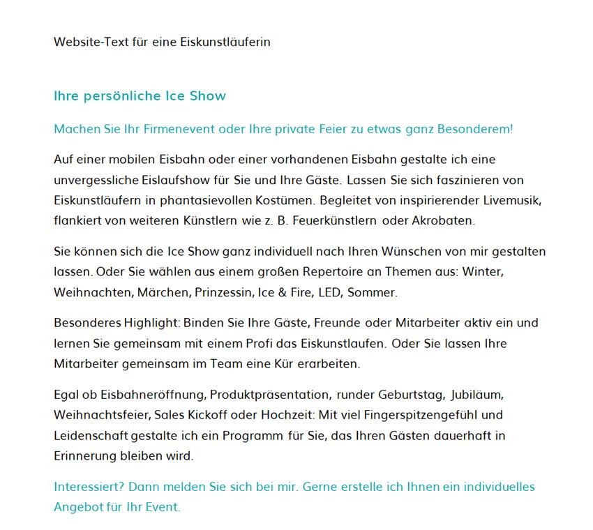 Professioneller Website Text für eine Eiskunstläuferin vom Marketingatelier Beck aus Dachau