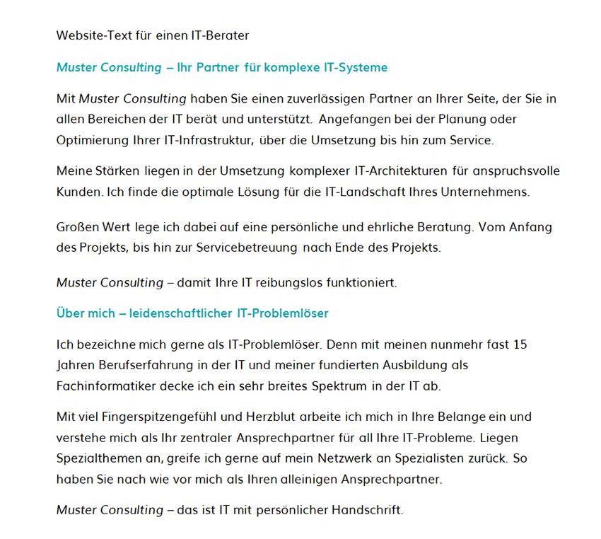 Ansprechende Website Text für einen IT-Berater vom Marketingatelier Beck aus Dachau