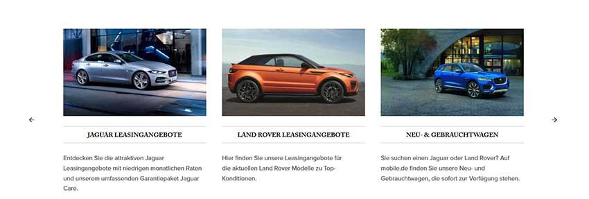 Homepage Inhalte - hier die Produkte eines Autohauses