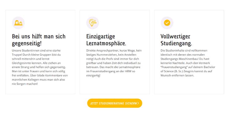Beispiel für Kundenvorteile, ein wichtiger Part der Inhalte einer Homepage