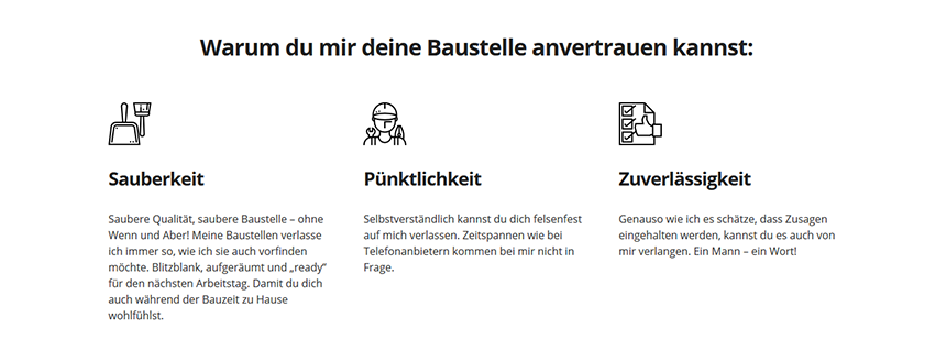 Die Kundenvorteile gehören zum Homepage Inhalt: hier ein Beispiel eines Handwerkers