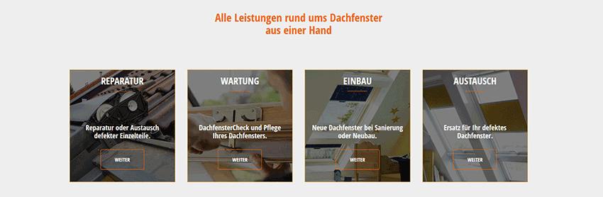 Homepage Inhalte - Angebotspalette eines Handwerkers