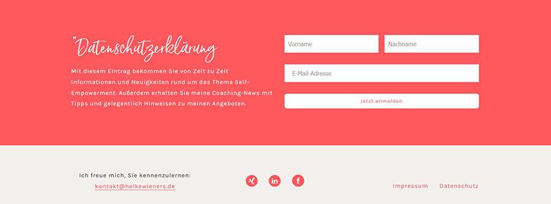 Website Konzept - Anmeldung zum Newsletter