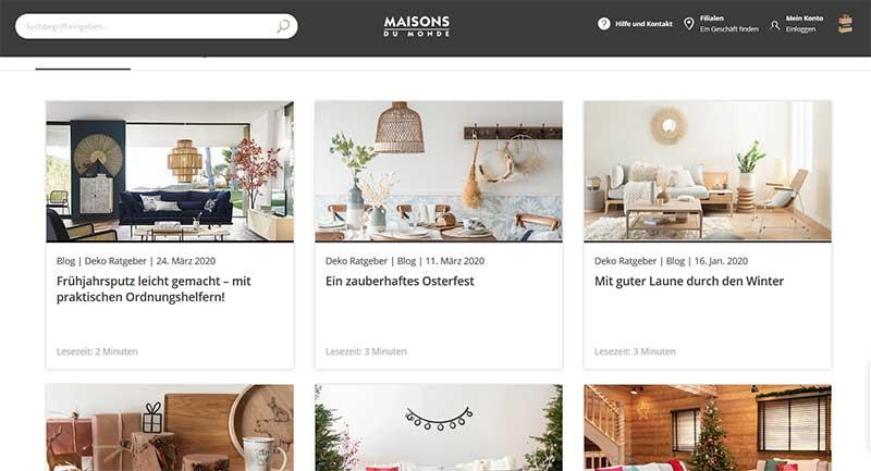 Beispiel für einen Corporate Blog - Maison du Monde