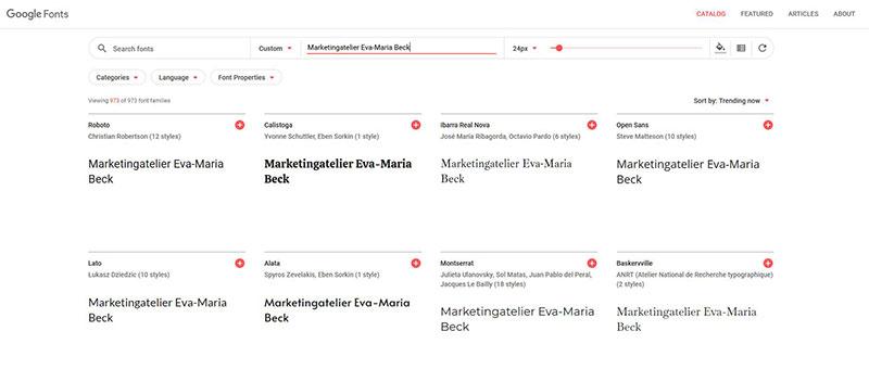 Website Konzept - Google Fonts