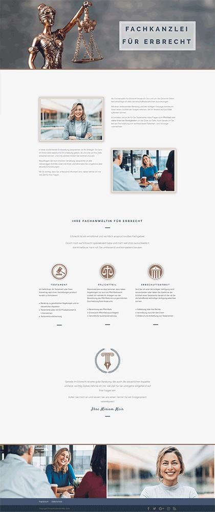 Das Bild zeigt ein Webdesign für Rechtsanwälte